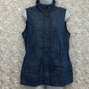 Talbots | Chambray Button Front Utility Vest